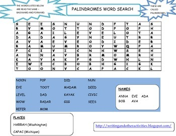 Palindromes Word Search