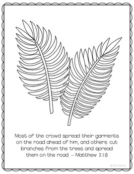 Palm Sunday Coloring Page or Poster, Bible Verse, Easter