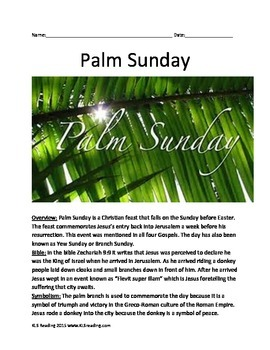 Palm Sunday - Informational Article  facts History questio