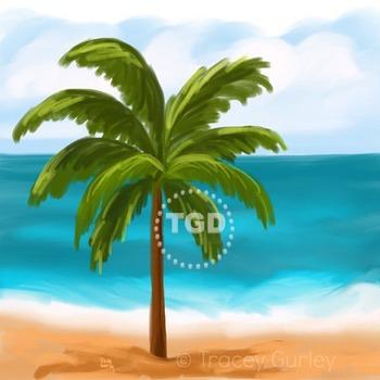 Palm Tree on Beach Scene Printable Tracey Gurley Designs
