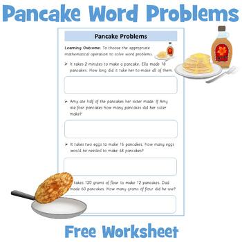 Pancake Themed Maths Word Problems
