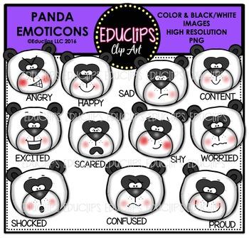 Panda Emoticons Clip Art Bundle