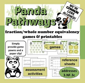 Panda Pathways - fraction & whole number equivalence games