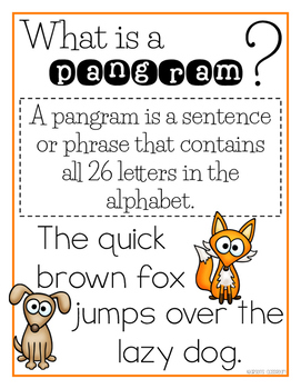 Pangram Mini-Anchor Chart and Handwriting Practice Worksheet