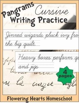 Pangrams Cursive Writing Practice