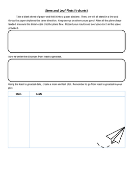 Paper Airplane Stem and Leaf Plot/Central Tendency
