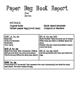 Paper Bag Book Report with Instructions