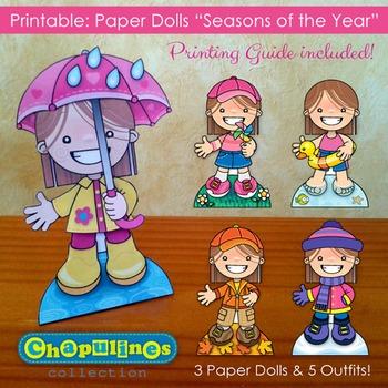 Paper Dolls - Printable - Seasons of the Year - Girls - Fu