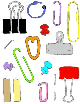 Paper Fasteners Clip Art Pack: 157 PNGs Paper Clips, Stapl