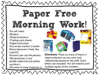 Paper Free Morning Work