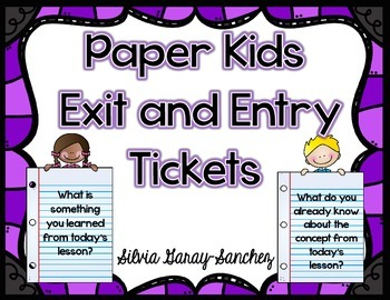 Paper Kids Exit and Entry Tickets