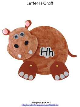 Paper Plate Hippo Craft for Letter Hh