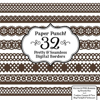 Paper Punch Chocolate Borders Clipart & Vectors - Border C