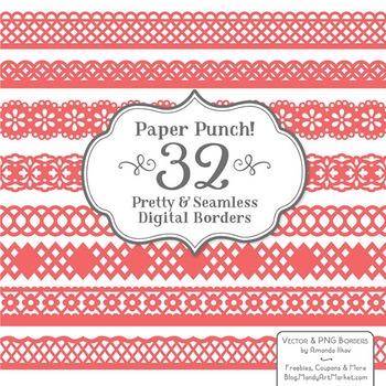Paper Punch Coral Borders Clipart & Vectors - Border Clip