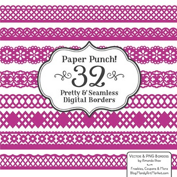 Paper Punch Fuchsia Borders Clipart & Vectors - Border Cli