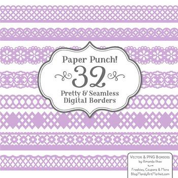 Paper Punch Lavender Borders Clipart & Vectors - Border Cl