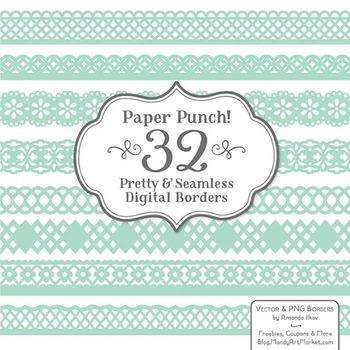Paper Punch Mint Borders Clipart & Vectors - Border Clip A