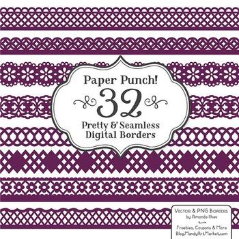 Paper Punch Plum Borders Clipart & Vectors - Border Clip A