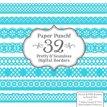 Paper Punch Tropical Blue Borders Clipart & Vectors - Bord