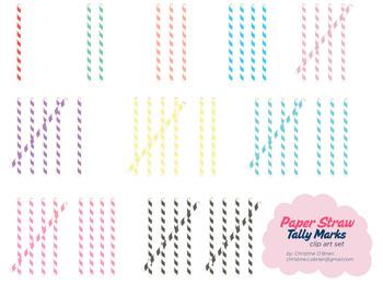 Paper Straw Tally Marks Clip Art Set