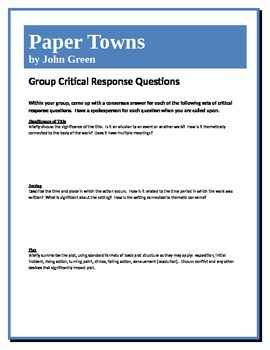 Paper Towns - Green - Group Critical Response Questions