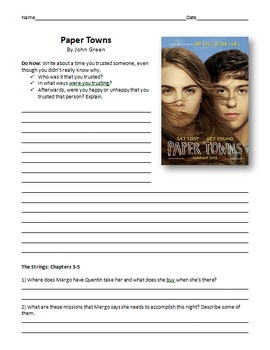 Paper Towns and Fault in Our Stars Reading Guide & Chapter