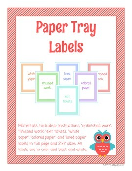 Paper Tray Labels