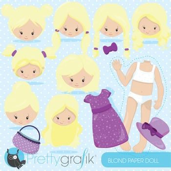 Paper doll blonde clipart commercial use, graphics, digita