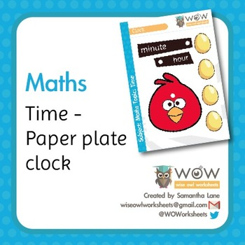 Angry Birds paper plate clock