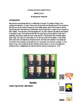 Paperless Literacy Center Lesson Plans