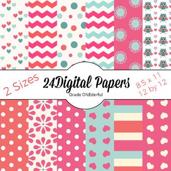 Valentine Digital Papers, Orange, Aqua, Cream, Teal