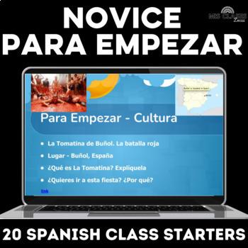 Para Empezar: Novice Spanish bell ringers or brain breaks