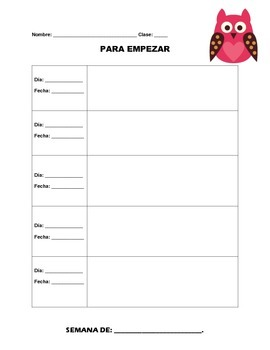 Para empezar-- Weekly warm-up sheets for Spanish classes (