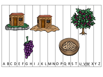 Parables in the Bible A-Z Sequence Puzzle printable game.