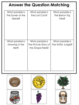 Parables in the Bible Answer the Question printable game.