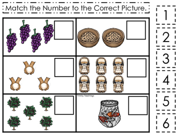 Parables in the Bible Match the Number printable game. Pre