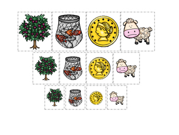 Parables in the Bible Size Sorting printable game. Prescho