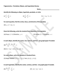 Parabola, Ellipse, and Hyperbola Worksheet