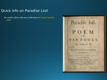 Paradise Lost and Milton Powerpoint