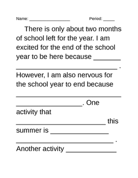 Paragraph Frame (Topic - Summer)