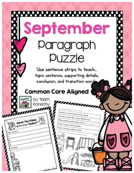 Paragraph Puzzle - September: Bucket Filler