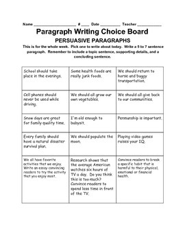 Paragraph Writing Choice Board--Persuasive Writing
