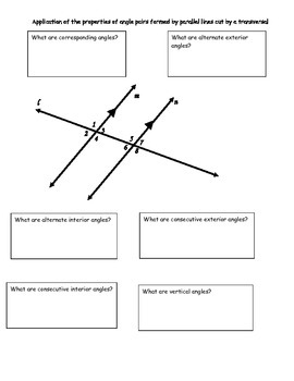 Parallel Lines, Transversals and Special Angles