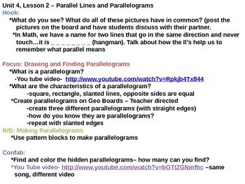 Parallel Lines and Parallelograms Lesson