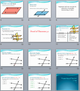 Parallel Lines and Planes - PowerPoint, Notes, Proofs, and
