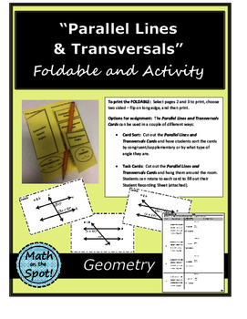 Parallel Lines and Transversals Foldable and Activity