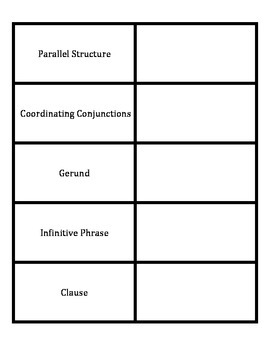 Parallel Structure Key Words Foldable