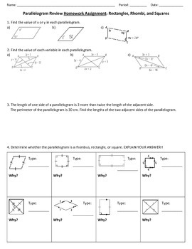 Parallelogram Review Worksheet
