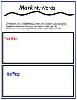 Paraphrasing-Mark My Words!