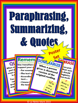 Paraphrasing, Summarizing, and Quotes